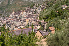 Saorge village, France. Saorge village panoramic view, France Royalty Free Stock Photos