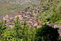 Saorge village, France. Saorge village panoramic view, France Royalty Free Stock Image