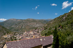 Saorge village, France. Saorge village panoramic view, France Royalty Free Stock Photography