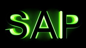 SAP в зеленом backlight - переводе 3D Стоковая Фотография