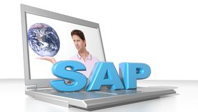 SAP and computer. A laptop computer with the write SAP: famous software for business management Royalty Free Stock Photos