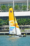 SAP Extreme Sailing team practising at Extreme Sailing Series Singapore 2013 Stock Photo