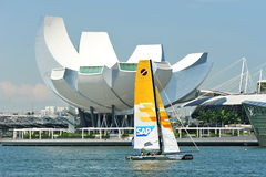 SAP Extreme Sailing Team practising at Extreme Sailing Series Singapore 2013 Royalty Free Stock Images