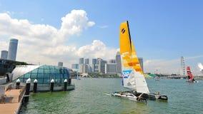 SAP Extreme Sailing Team practising at Extreme Sailing Series 2013 in Singapore Royalty Free Stock Images