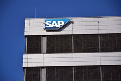 SAP multinational software corporation logo on Czech headquarters Royalty Free Stock Photos