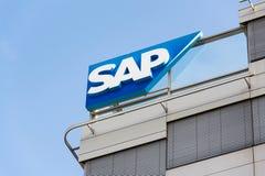 SAP multinational software corporation logo on Czech headquarters building. PRAGUE, CZECH REPUBLIC - OCTOBER 14: SAP multinational software corporation logo on Royalty Free Stock Photos