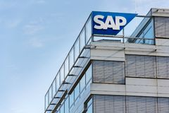 SAP multinational software corporation logo on Czech headquarters building Royalty Free Stock Image