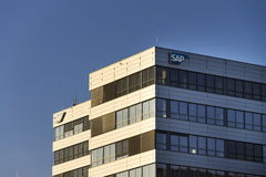 SAP multinational software corporation logo on Czech headquarters Royalty Free Stock Photography