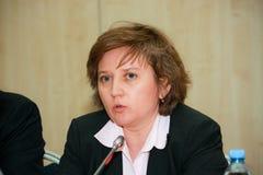 SAP Russia CEO Natalia Parmenova make panel discussion Royalty Free Stock Photos