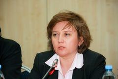 SAP Russia CEO Natalia Parmenova make panel discussion Stock Photo