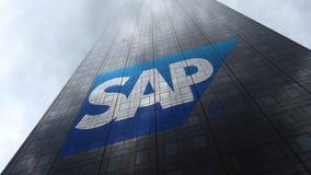 SAP SE-logo på reflekterande moln för en skyskrapafasad Redaktörs- tolkning 3D Royaltyfri Bild
