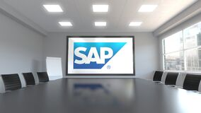 SAP SE logo on the screen in a meeting room. Editorial 3D animation