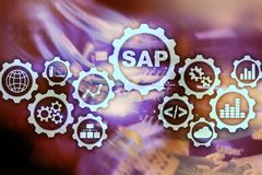SAP System Software Automation concept on virtual screen data center. royalty free illustration