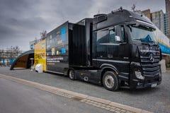 SAP va oltre i supporti del camion della dimostrazione di CRM a CeBIT Fotografie Stock