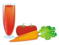 Sap van tomaat en wortel Stock Foto's