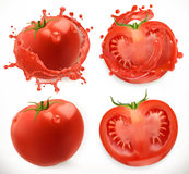 Sap van tomaten vers voedsel vegetable Drie kleurenpictogrammen op kartonmarkeringen vector illustratie