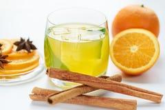 Sap van verse sinaasappelen en kruiden Stock Fotografie