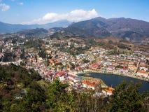 Sapa镇,老街区,越南全视图  库存照片