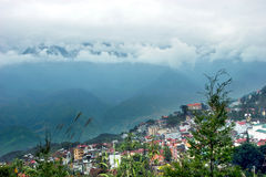 Sapa. View of Sapa highland city in a morning on November from Dragon mountain royalty free stock images