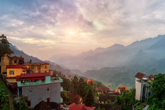Sapa city view from mountain top. Sapa summit Royalty Free Stock Image