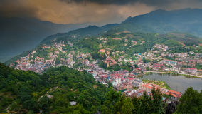 Sapa cityscape. View of Sapa city from Hamrong viewpoint Royalty Free Stock Photo