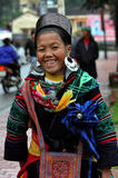 Black Hmong woman in traditional clothes, Sapa, Vietnam Stock Photos