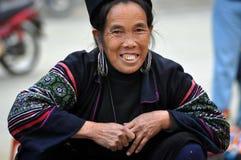 Black Hmong woman in traditional clothes, Sapa, Vietnam Royalty Free Stock Photos