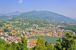 Sapa lake and town. View of Sapa lake and town stock photography