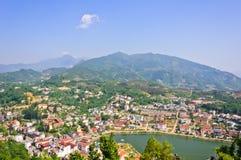 Sapa lake and town. View from Ham Rong mountain, Vietnam royalty free stock photos