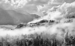 Sapa in the mist. A beautiful tourist town in the mountains of northwest Vietnam, with year-round cool weather and spectacular scenery Royalty Free Stock Images