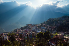 Sapa Town. Located at 1650 m above sea level in Vietnams remote northwest mountains, Sapa is famous for both its fine, rugged scenery and also its rich cultural royalty free stock photo