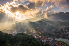 Sapa Town before Sunset from Ham Rong mountain. Royalty Free Stock Images