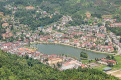 Sapa Town View. From the Ham Rong mountain (1854 m) with a big lake surrounded by many houses royalty free stock images