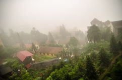 Sapa valley city in the mist, Vietnam Stock Photo