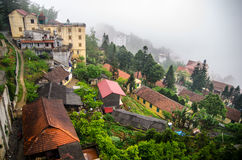 Sapa valley city in the mist, Vietnam Stock Photography