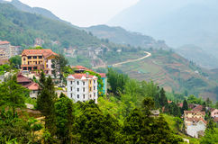 Sapa valley city in the mist, Vietnam Stock Image