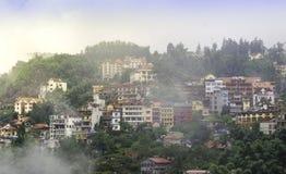 Sapa valley city in the mist, Vietnam Stock Image