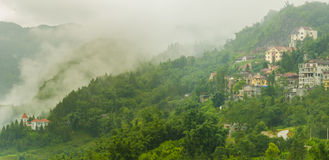 Sapa valley city in the mist, Vietnam Royalty Free Stock Photos