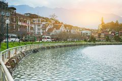Beautiful view sapa valley Vietnam Panorama in morning sunrise with beauty cloud stock images