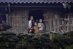 happy family in sapa. stock photography