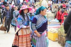 SAPA VIETNAM - FEBRUARI 08, 2015: Hmong kvinnor Arkivbilder