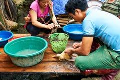 Sapa, Vietnam.- 22. Mai. 2019. Local people prepare chicken for dinner  in lao chai sapa valey in Vietnam.  royalty free stock image