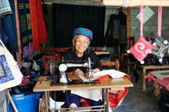 Sapa, Vietnam.- 22. Mai. 2019. Local women make clothes in lao chai sapa valey in Vietnam.  royalty free stock images