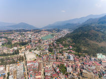 SAPA, VIETNAM - 05 MAR 2017: View from above of the city Sapa in north west Vietnam. The city Stock Photo