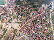 SAPA, VIETNAM - 05 MAR 2017: View from above of the city Sapa in north west Vietnam. The city Stock Image