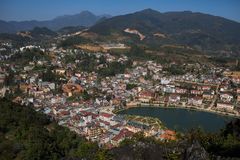 SAPA VIETNAM - NOV4,2017 : high angle view of sapa township scen. E from ham rong mountain peak most popular traveling destination in sapa Royalty Free Stock Photography