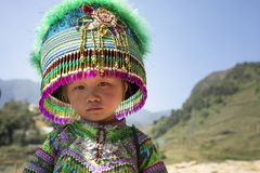 SAPA VIETNAM - NOV4,2017 : unidentified children wearing decorat Stock Photo