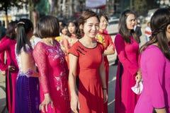 SAPA VIETNAM -NOVEMBER4,2017 : younger vietnamese woman wearing Royalty Free Stock Photo