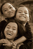 SAPA, VIETNAM - SEP 30:Three Unidentified girl of the flower H'm. Ong indigenous women on September 30, 2009 in Sapa, Vietnam. Flower H'mong tribes is one of the Royalty Free Stock Image