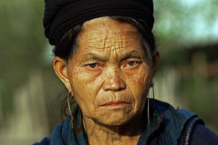 SAPA, VIETNAM - SEP 30:Unidentified old women of the flower H'mo Royalty Free Stock Images